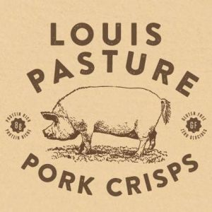 Logo for Louis Pasture, Dill, BBQ, and Plain Pork Crisps locally handmade in Errington on Vancouver Island