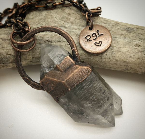 powerful double pointed Tibetan Quartz set in Copper pendant necklace