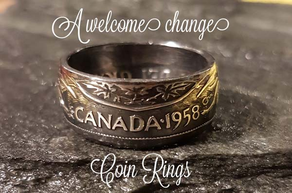 custom coin rings, hand made on Vancouver Island by A Welcome Change Coin Rings