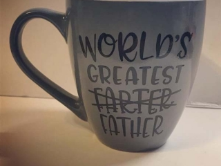 World's Greatest Farter mug, Fathers Day gift idea handmade on Vancouver Island