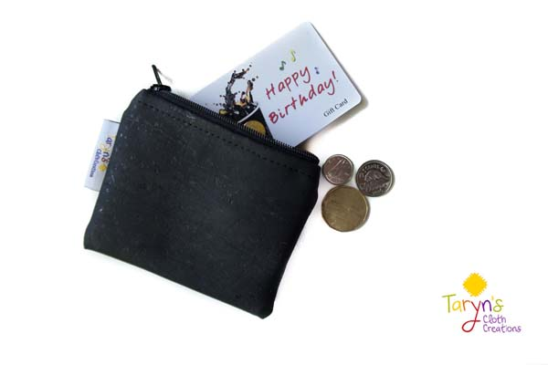 cork credit card wallet, handmade on Vancouver Island by Taryn's Cloth Creations
