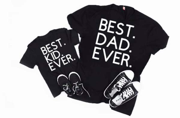 Best Dad Ever, Best Kid Ever shirts, handmade on Vancouver Island by Modern Minis