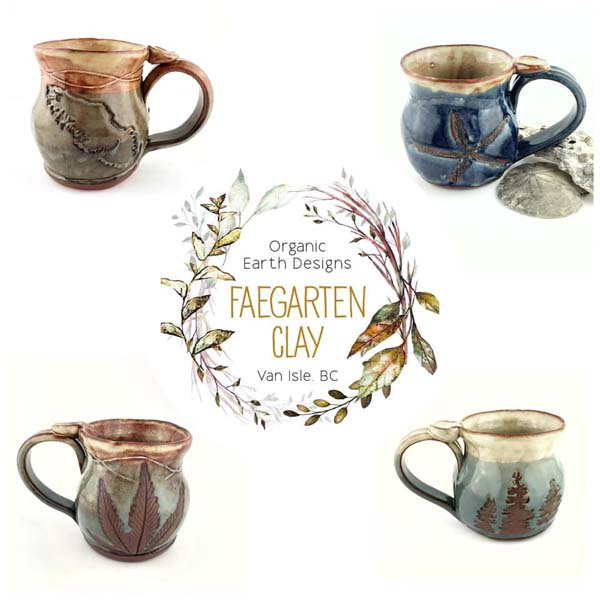 Vancouver Island and pot plant mugs handmade on Vancouver Island by Faegarten Clay