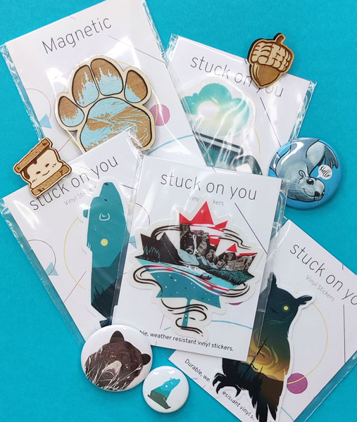 vinyl stickers, magnets, and pins handmade on Vancouver Island by Amanda Key Designs