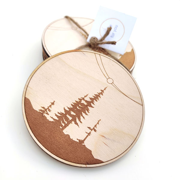 wood coasters with trees, handmade on Vancouver Island by Canadian brand Amanda Key Designs