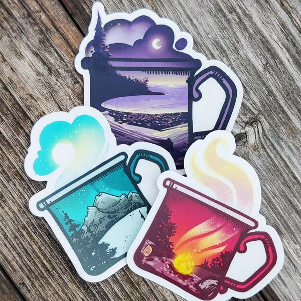 coffee mug with wildlife designs vinyl stickers, Vancouver Island brand Amanda Key