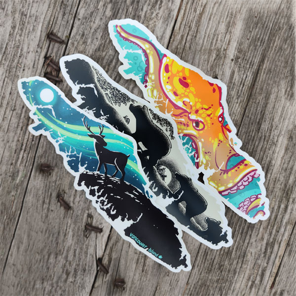 Vancouver Island Stickers with bear, deer, octopus, locally made by Canadian brand Amanda Key Designs