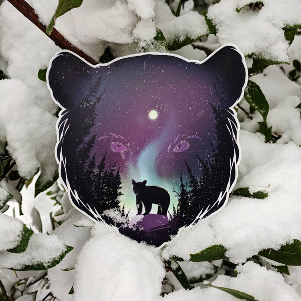 vinyl sticker of bear head and northern lights by Canadian artist Amanda Key Designs, Nanaimo B.C.