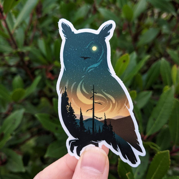 vinyl sticker of owl and sunset, handmade in Nanaimo B.C. by Amanda Key Designs