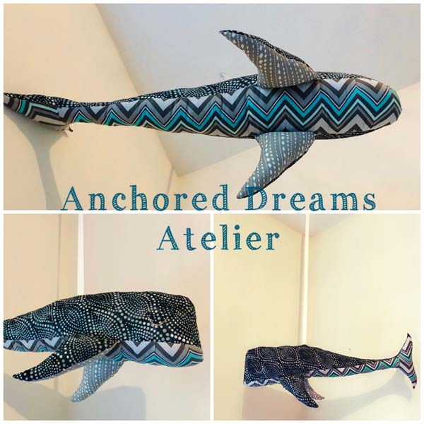 whale stuffie, handmade on Vancouver Island by Anchored Dreams Atelier