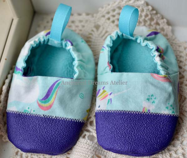 blue unicorn baby booties, product made in Canadad on Vancouver Island by Anchored Dreams