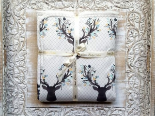 Baby blanket with deer pattern, handmade on Vancouver Island, Canada