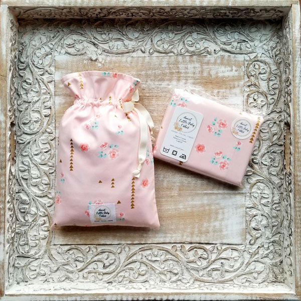 Crib sheets made in Canada, flower pattern, handmade on Vancouver Island by Sweet Little Baby Cakes