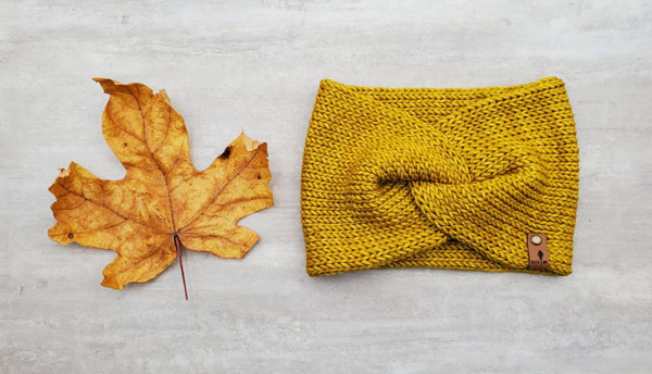 mustard yellow knit headband, made on Vancouver Island in Courtenay by Back 40 Designs