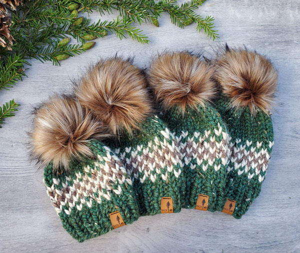 handmade knit heart toques for kids and adults, product made on Vancouver Island in Courtenay BC by Back 40 Designs