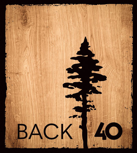 Back 40 Designs logo, Vancouver Island made knitwear