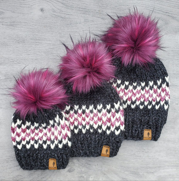 hot pink pom pom beanie, knitwear made on Vancouver Island by Back 40 Designs