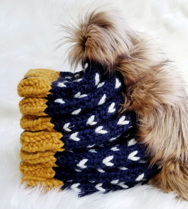 handmade knit heart toque for kids, product made on Vancouver Island in Courtenay by Back 40 Designs