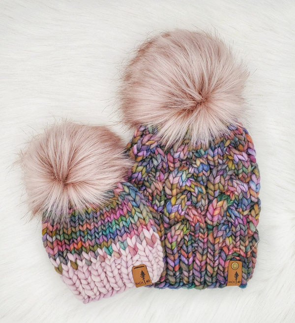 pink pom pom beanie, knitwear made on Vancouver Island by Back 40 Designs