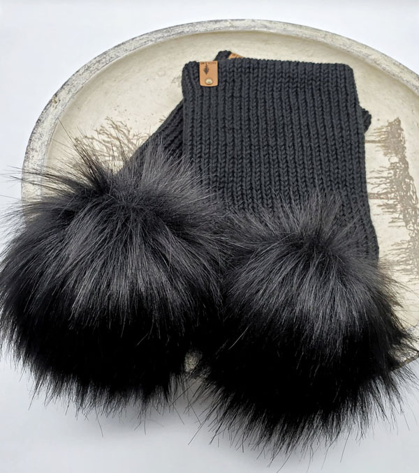 black pom toques, Canadian made knit product made in Courtenay by Back 40 Design