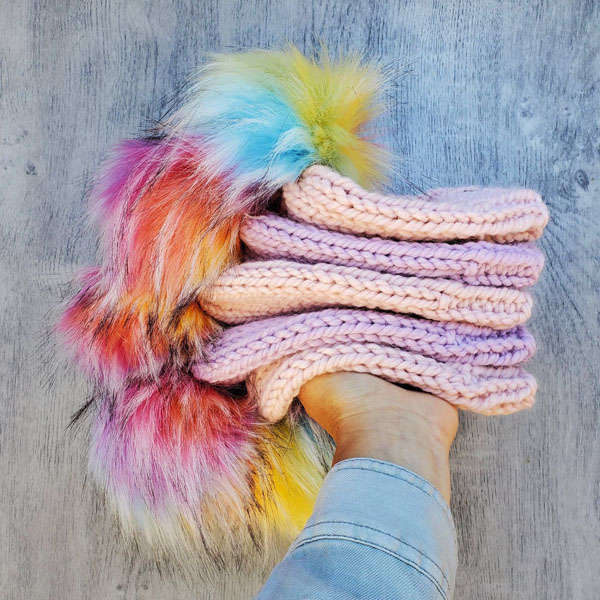 rainbow pom toques, Canadian made product from Vancouver Island by Back 40 Designs