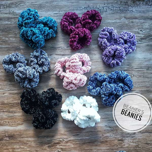 Knitted scrunchies hand made locally on Vancouver Island by Beaner's Beanies