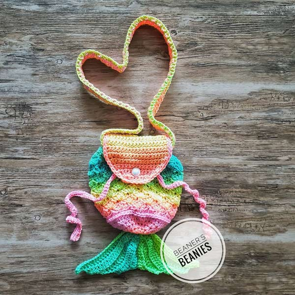 Crocheted rainbow mermaid purse handmade on Vancouver Island by Beaner's Beanies