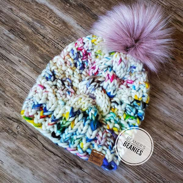 Colorful kid's knit beanie handmade on Vancouver Island by Beaner's Beanies