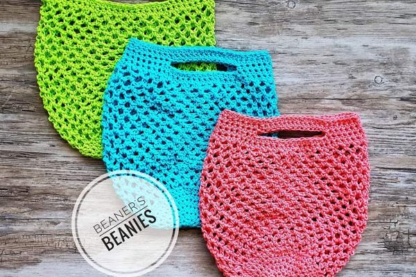 crocheted reusable produce bags to cut back on single use plastics handmade by Beaners Beanies on Vancouver Island