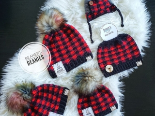 matching plaid beanie toques for the whole family made on Vancouver Island by Beaners Beanies