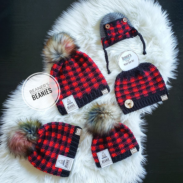matching buffalo plaid beanie toques for entire family, made on Vancouver Island