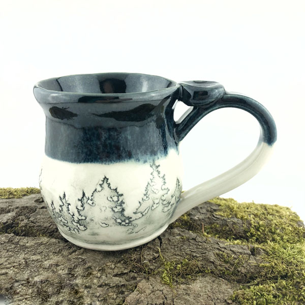 Hand-shaped clay Treeline Mug, gift ideas made on Vancover Island