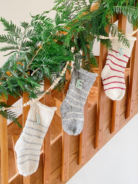 knitted christmas stockings made on vancouver island in nanoose bay