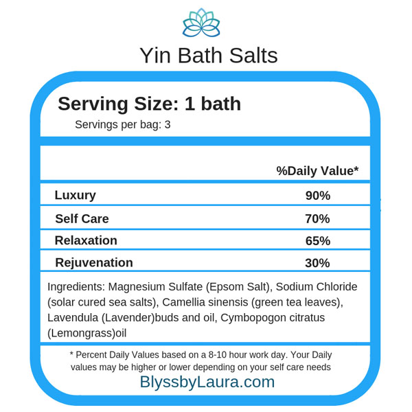 Ingredients in all natural bath salts made on Vancouver Island
