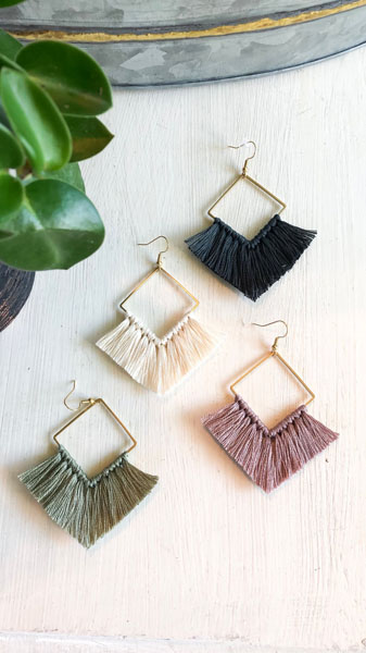 blue, white, green, purple fringe earrings handmade in Ladysmith on Vancouver Island
