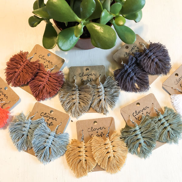 blue, yellow, green, gray, pink fringe earrings jewelry made on Vancouver Island by Clover + Coast in Ladysmith