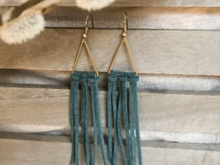 triangle shaped dark green fringe earrings in brown and gray, jewelry made on Vancouver Island by Clover + Coast in Ladysmith