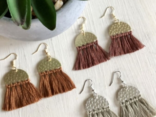 fringe earrings in brown and gray, jewelry made on Vancouver Island by Clover + Coast in Ladysmith