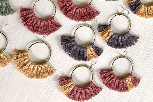 fringe earrings made on Vancouver Island by Clover + Coast in Ladysmith