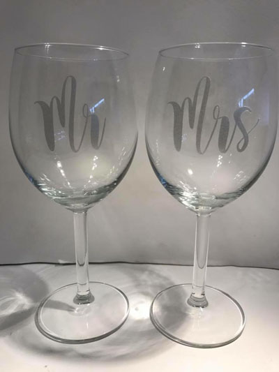 Custom made wine glasses saying Mr. and Mrs, handmade on Vancouver Island by Crafty Island Owl