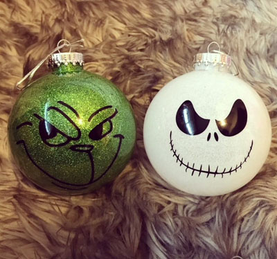 Custom Christmas ornaments with grinch face, handmade in Qualicum Beach by Crafty Island Owl