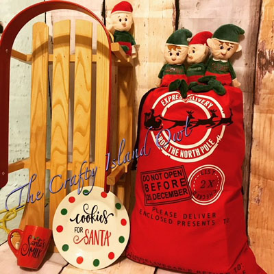 "Custom made Santa sack and custom kitchenware ""Cookies for Santa"" and ""Santa's milk"", handmade on Vancouver Island by Crafty Island Owl"