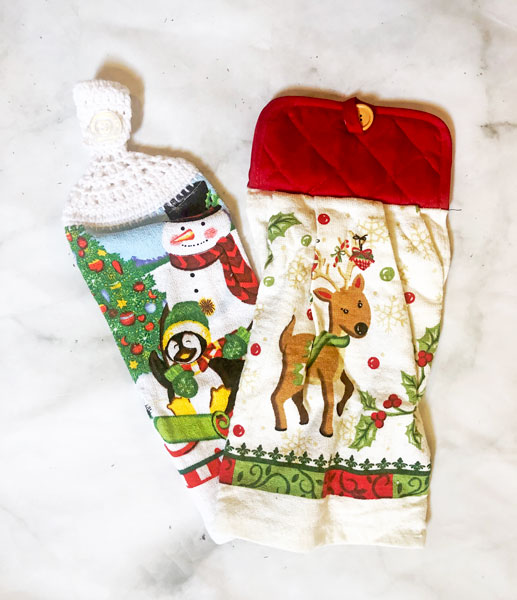christmas themed dish and hand towels made on vancouver island in duncan and victoria