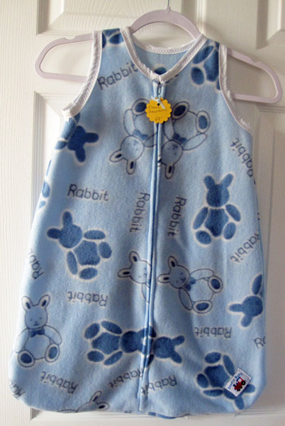 Canadian made sleep sack with bunny print, made on Vancouver Island in Courtenay