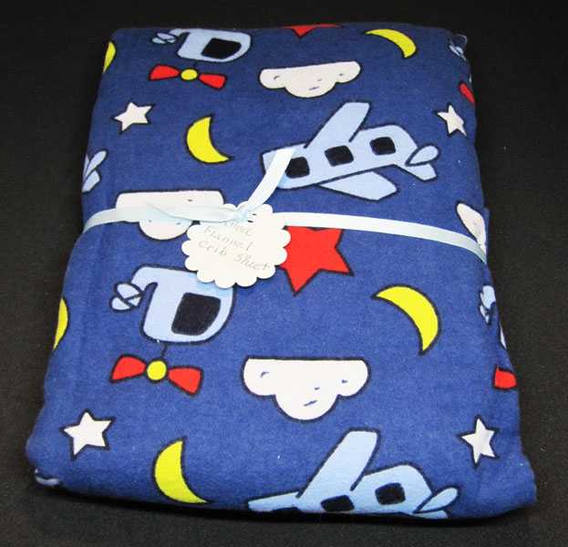 airplane flannel crib sheet made in Canada by Doodlebaby in Courtenay