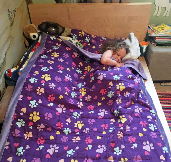 Dog print purple weighted blanket made in Canada on Vancouver Island