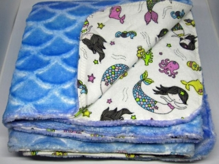 Cotton and Minky blanket with mermaids made on Vancouver Island in Courtenay, Canada