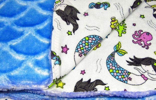 Mermaid print flannel baby blanket