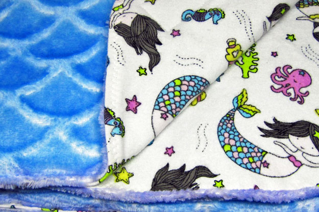 Mermaid print flannel baby blanket