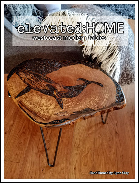 handmade handbured wooden side table made on Vancouver Island in Campbell River
